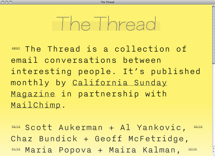 The Thread website 3