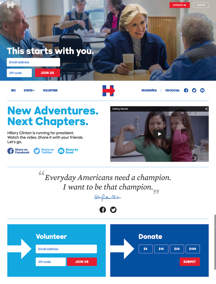 Hillary for America website and logo 1
