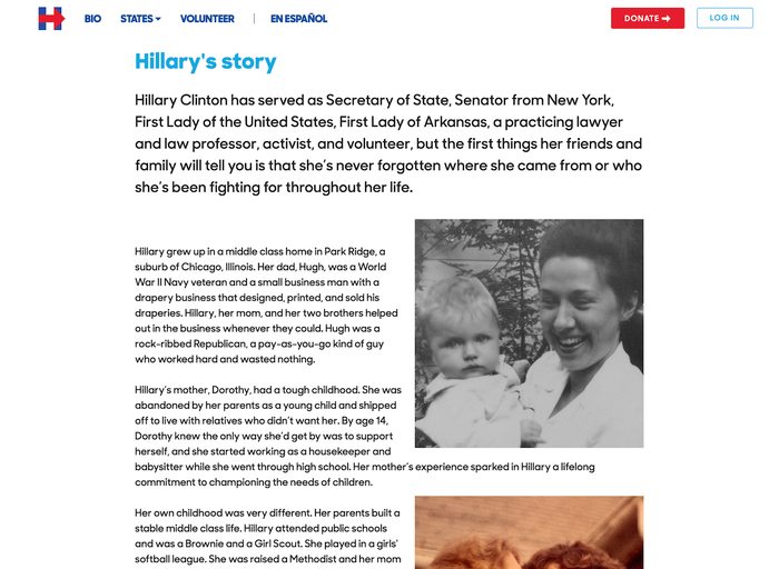 Hillary for America website and logo 3