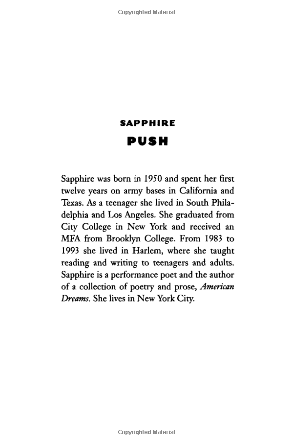Push, a novel by Sapphire 3