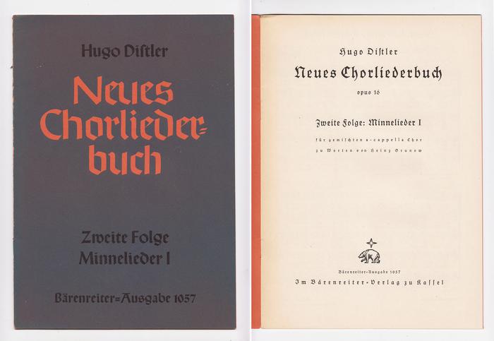 Neues Chorliederbuch byHugo Distler, Bärenreiter-Ausgabe 1057