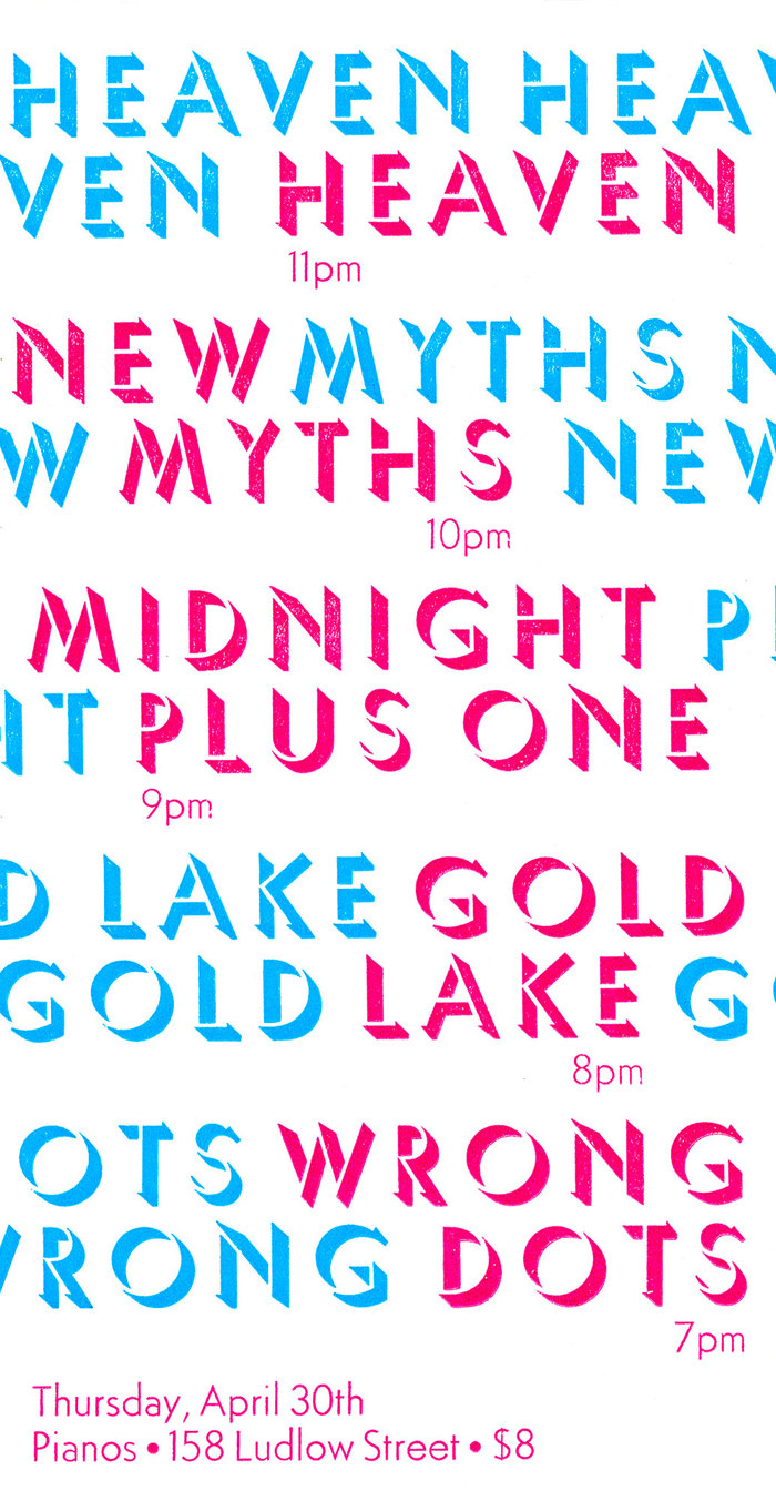Heaven / New Myths / Midnight Plus One / Gold Lake / Wrong Dots concert poster