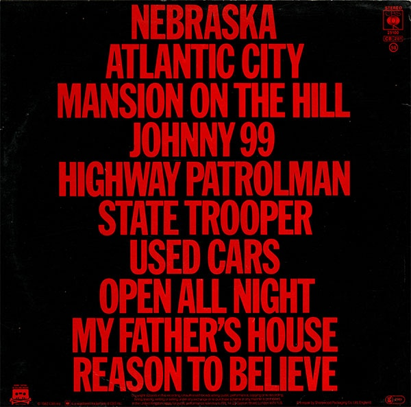Bruce Springsteen Nebraska Album Art Fonts In Use