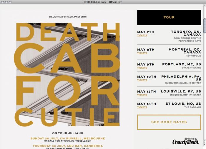 Death Cab For Cutie website 2