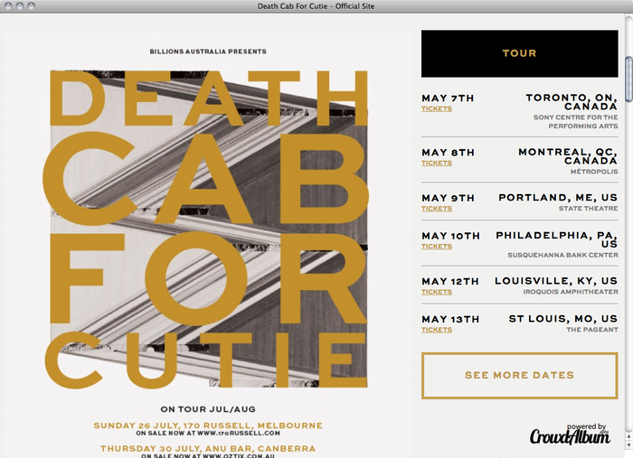 Death Cab For Cutie website 2