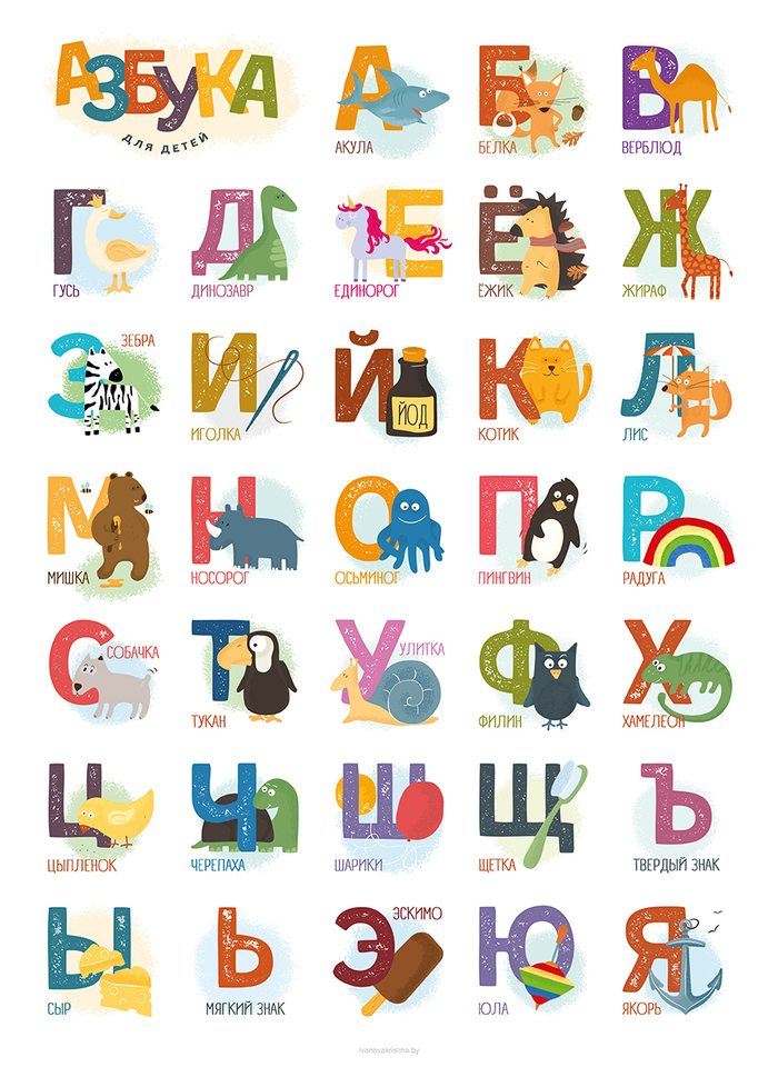 Azbuka – poster with Cyrillic alphabet 1