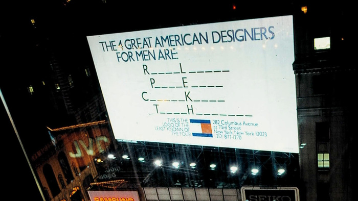 Billboard that ran in Times Square at the same time as the magazine ad.