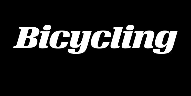 Velo's flat serifs on 'i', 'l' and 'n' were curved into tails for the Bicycling logo.