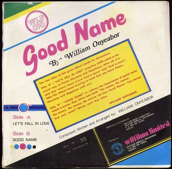 William Onyeabor – Good Name album art 2