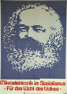 <cite>Mikroelektronik im Sozialismus – Für das Wohl des Volkes</cite> poster