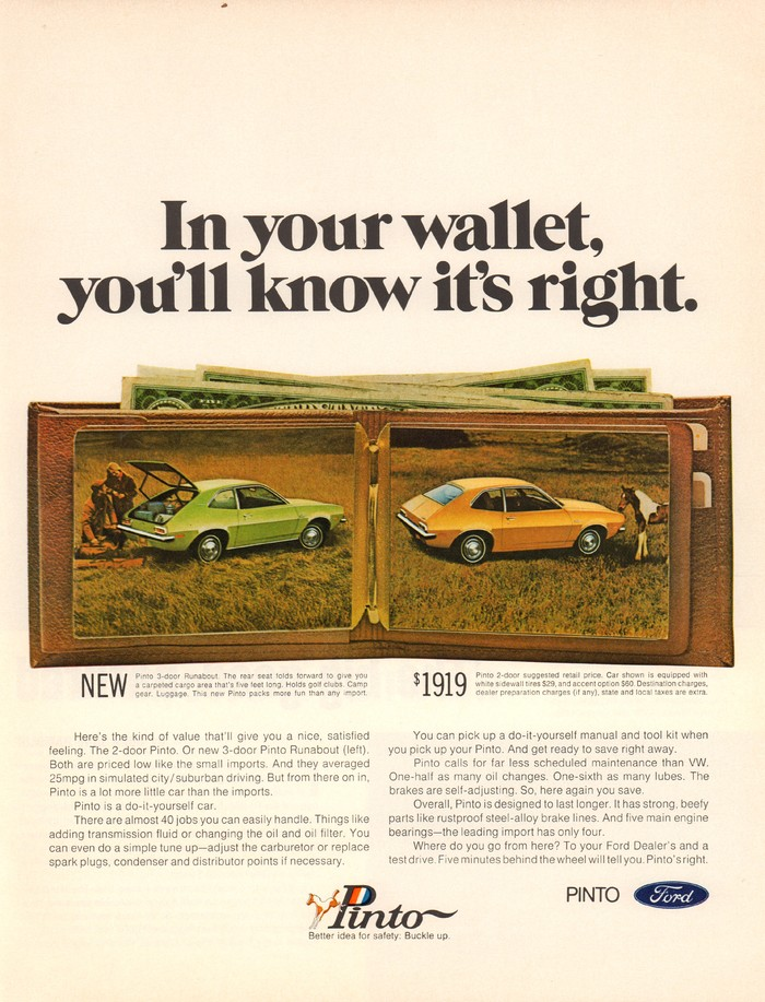 """Ford Pinto ad: """"In your wallet, you'll know it's right"""""""