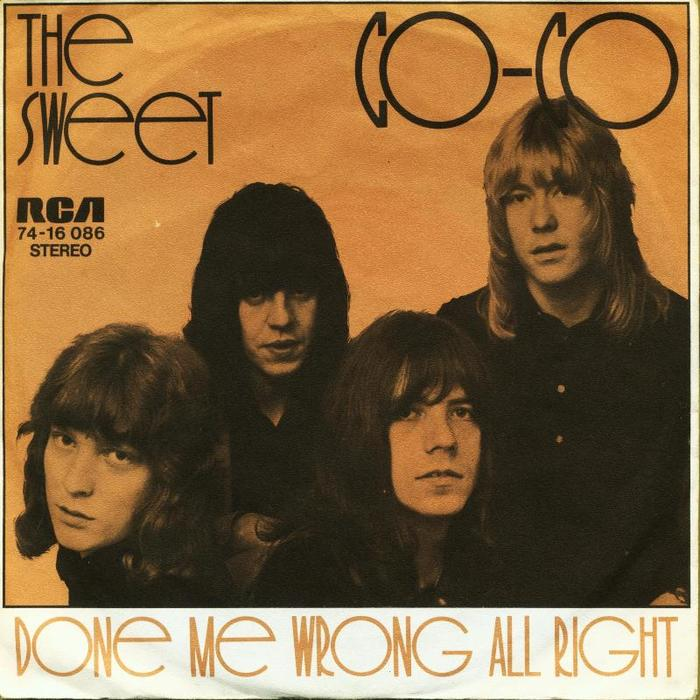 "The Sweet – ""Co-Co"" / ""Done Me Wrong All Night"" German single cover"