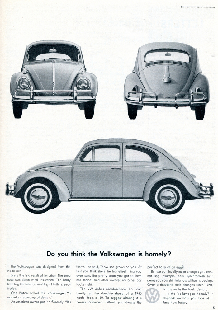 """""""Do you think the Volkswagen is homely?"""" Sports Car Illustrated, Nov 1960"""