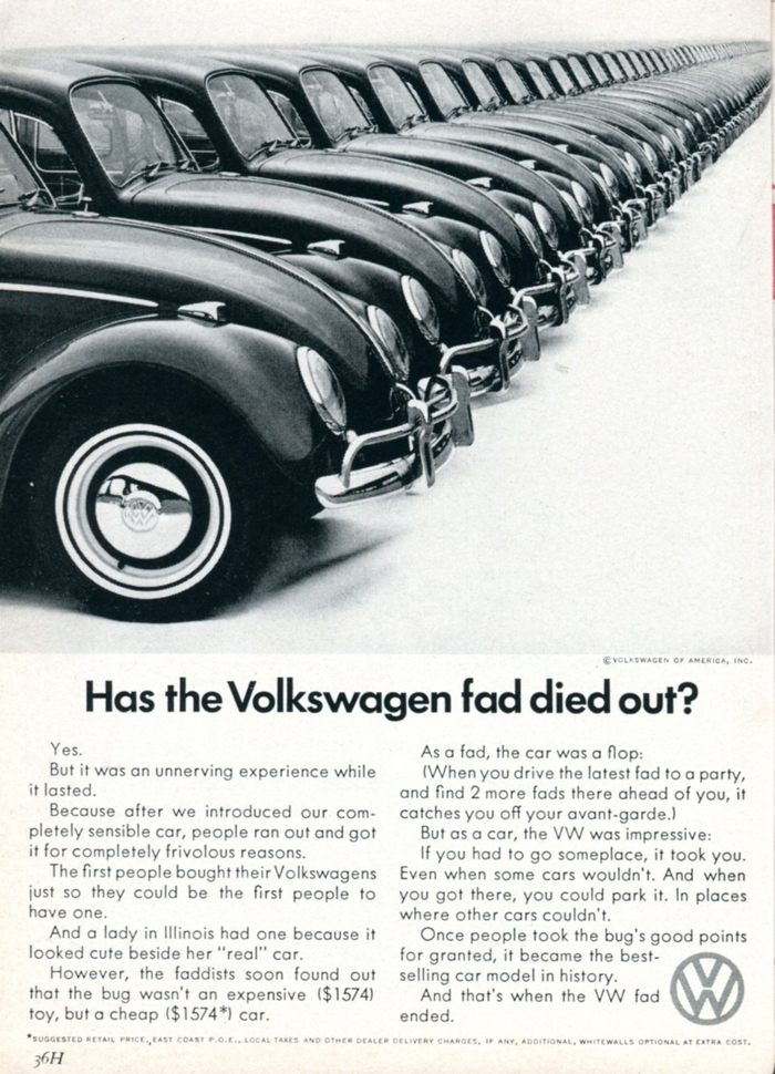 """""""Has the Volkswagen fad died out?"""" Readers Digest, Mar 1966"""