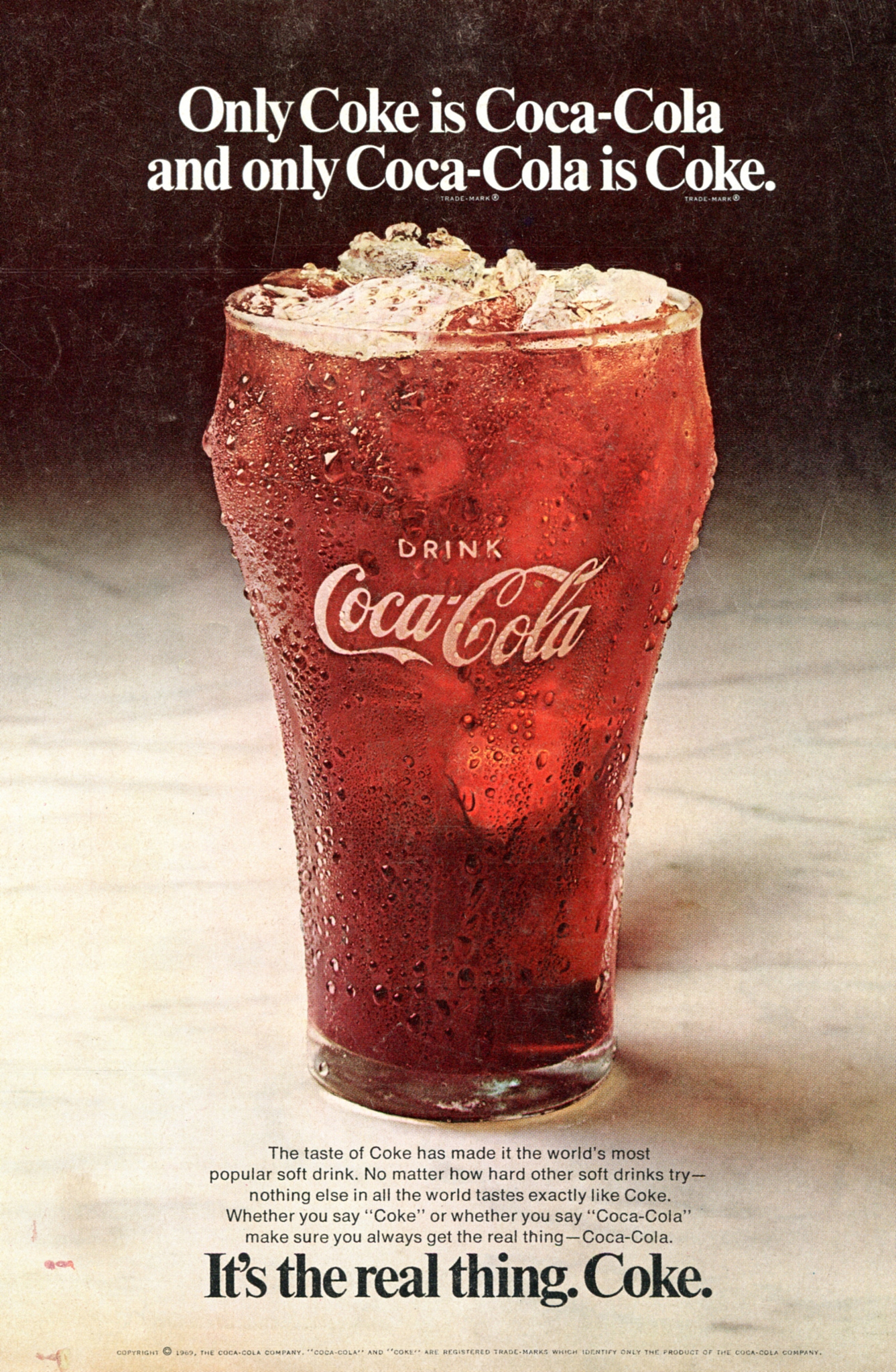 "It's the real thing "" Coca-Cola ad (1969 debut?) - Fonts In Use"