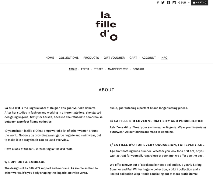 La Fille d'O identity and website (2015) 5