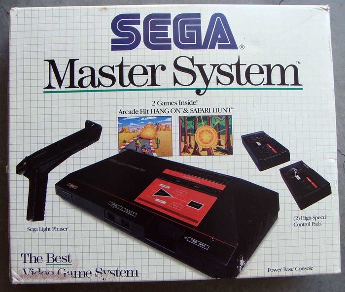 Sega Master System logo and accessory/game packaging 2