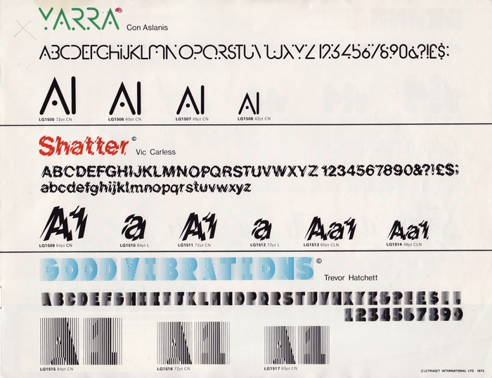 18 New Type Faces – Letraset Letragraphica 5