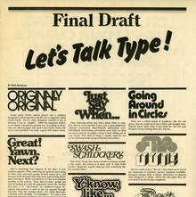 <cite>Let's Talk Type!&nbsp;</cite>from <cite>Metropolis </cite>newspaper