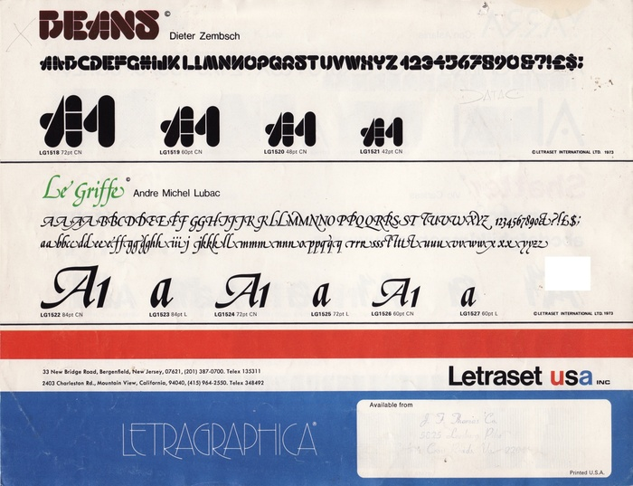 18 New Type Faces – Letraset Letragraphica 6
