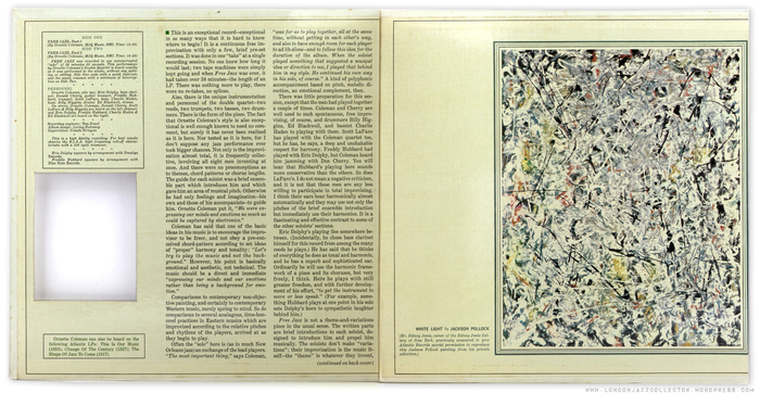 The inside of the gatefold cover, with the cutout at the left revealing a portion of the Pollock painting on the front cover.