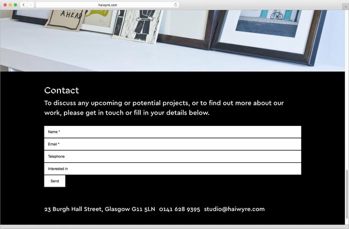 Haiwyre studio website 9