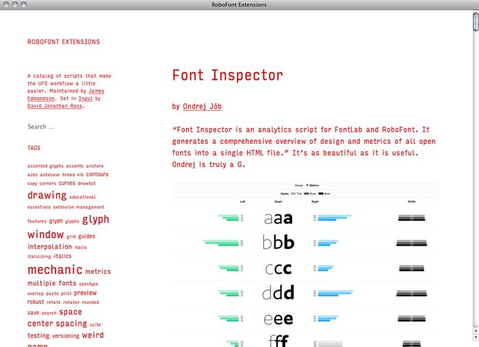 RoboFont Extensions website 1