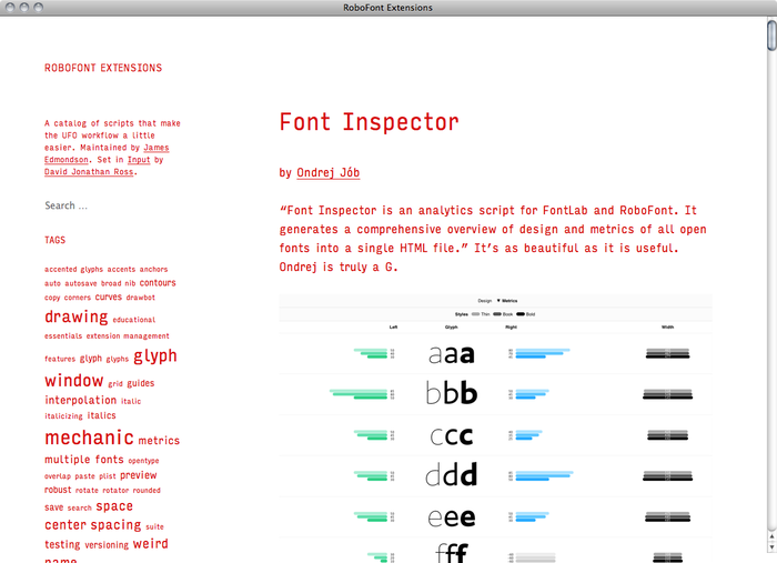 RoboFont Extensions website 1