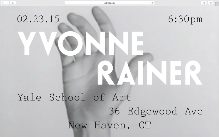 Yvonne Rainer lecture announcement 1