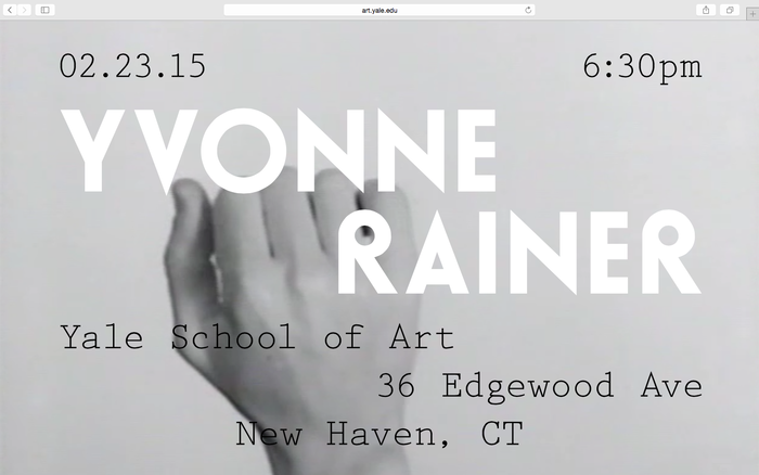 Yvonne Rainer lecture announcement 2
