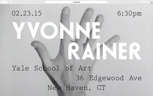 Yvonne Rainer lecture announcement