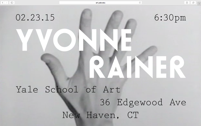 Yvonne Rainer lecture announcement 3