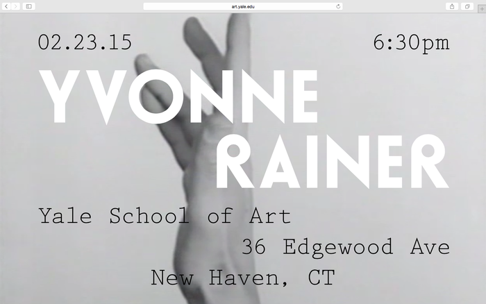 Yvonne Rainer lecture announcement 4