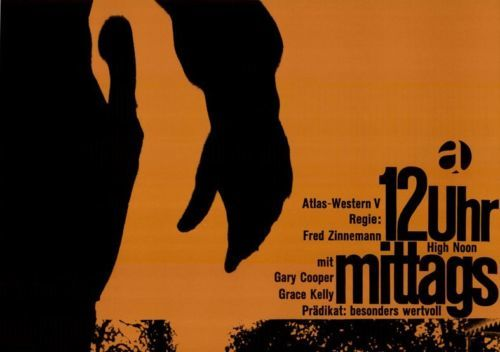 12 Uhr mittags (High Noon) movie poster, German rerelease and Atlas Film logo 1