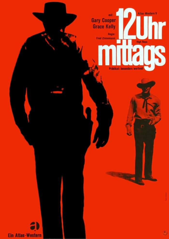 12 Uhr mittags (High Noon) movie poster, German rerelease and Atlas Film logo 2