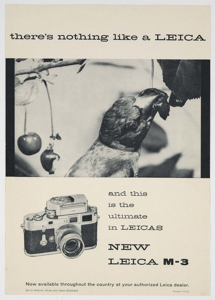 Hellenic Wide and Venus Extended. The Leica M-3 was introduced in 1954, and these ads appeared as early as 1955, indicating that this specimen must have come sometime after.