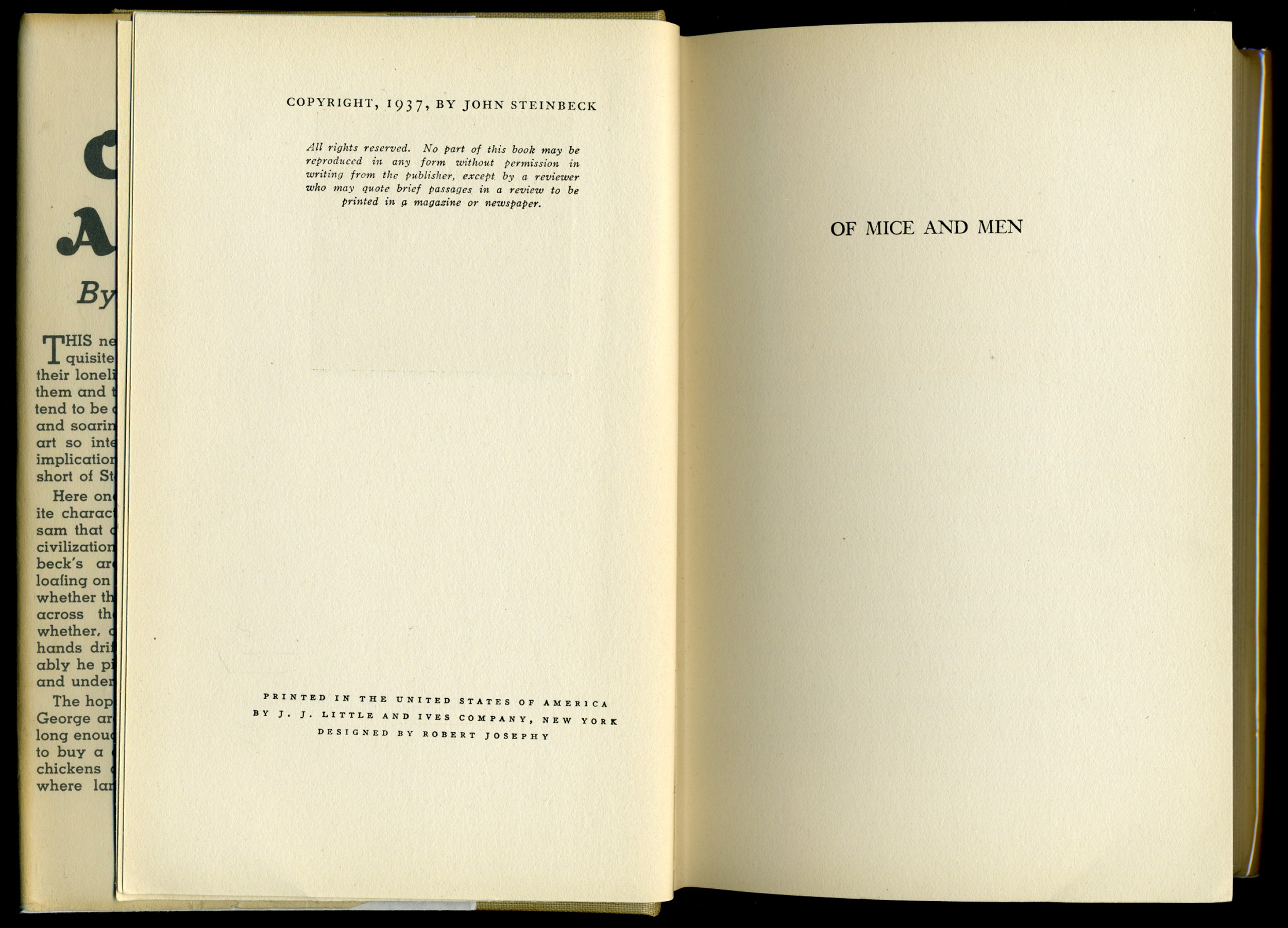 Of Mice And Men By John Steinbeck First Edition  Fonts In Use Printed In The United States Of America By Jj Little And Ives Company  New York Extended Essay Topics English also English Literature Essay Questions  Science Topics For Essays