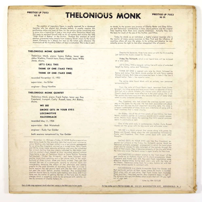 Monk: Thelonious Monk with Sonny Rollins and Frank Foster by Thelonious Monk Quartets 2