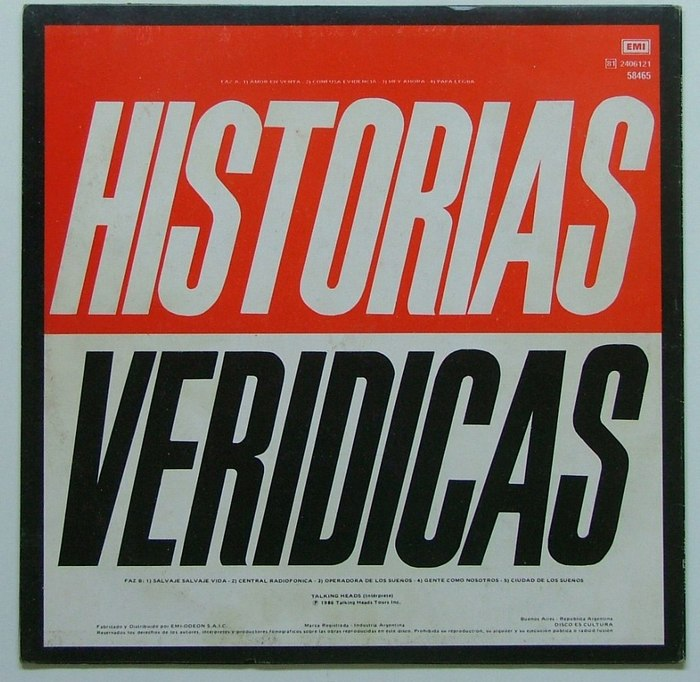 Historias Veridicas, issued in Argentina 1986, has all titles in spanish.
