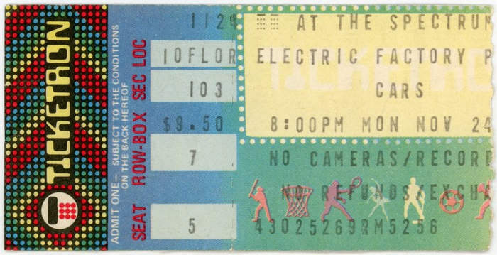 The Cars, Philadelphia, PA, Nov. 24, 1980.