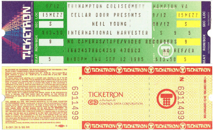 Above: Neil Young and The International Harvesters, Hampton, VA, Sep. 12, 1985.  Below: Shocking Pinks, Aug. 27 1983. An alternate Ticketron logo is set in Friz Quadrata.