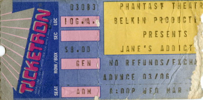 Jane's Addiction,Cleveland, OH,Mar.8, 1989.