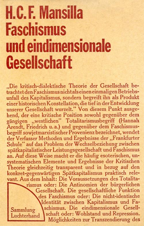 H.C.F. Mansilla:Faschismus und eindimensionale Gesellschaft, 1971