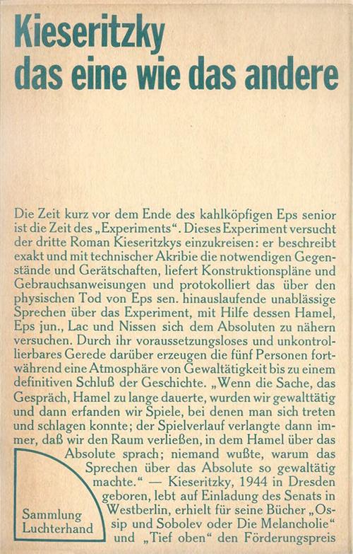 Ingomar vonKieseritzky:das eine wie das andere, 1971