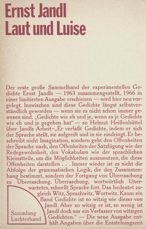 ErnstJandl:Laut und Luise, 1971