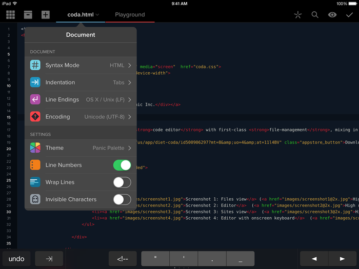 Coda for iOS 2.0 app 2