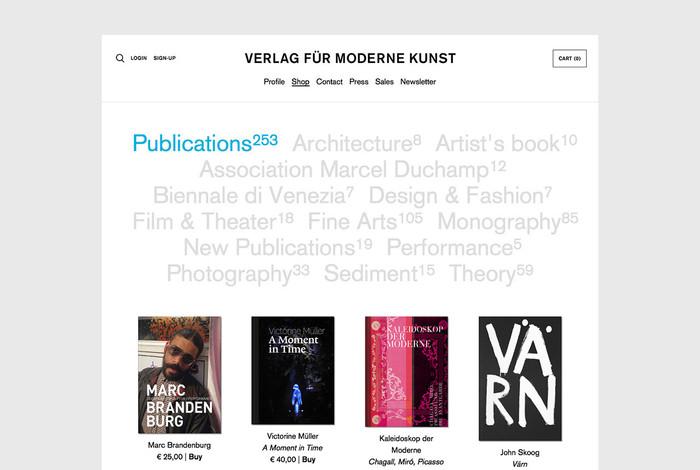 Verlag für moderne Kunst website 2