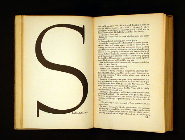 """""""With reference back to the title spread, each section begins with an opening spread that jolts the reader with a large initial and the first words of the text in all caps. As with the title, Reichl used an enlarged Weiss initial, redrawn in a slightly condensed manner. The basic text face is Baskerville."""" — Martha Scotford"""