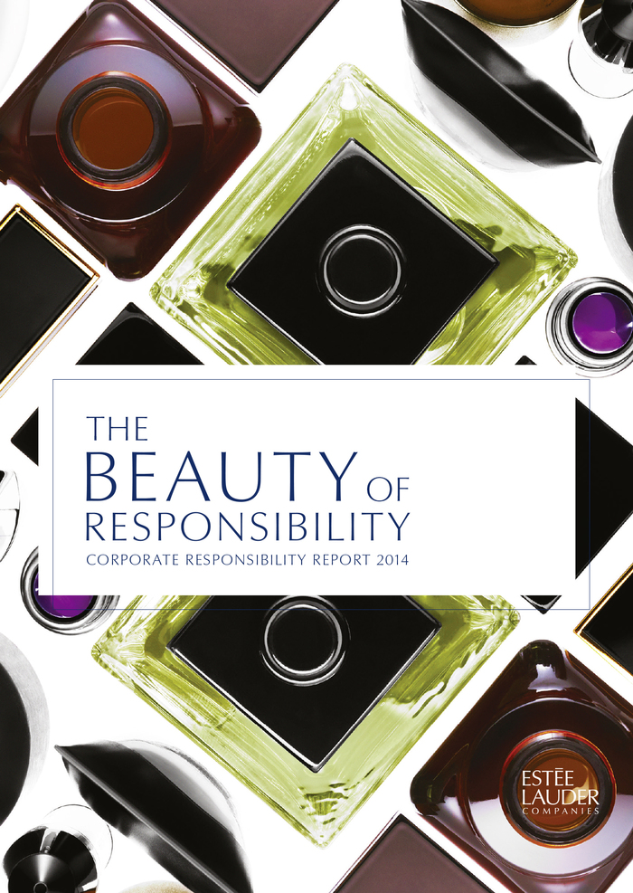 The logo in use on the cover of the group's Corporate Responsibility Report 2014. The title is set in a custom light cut that is also used on the Estée Lauder websites.