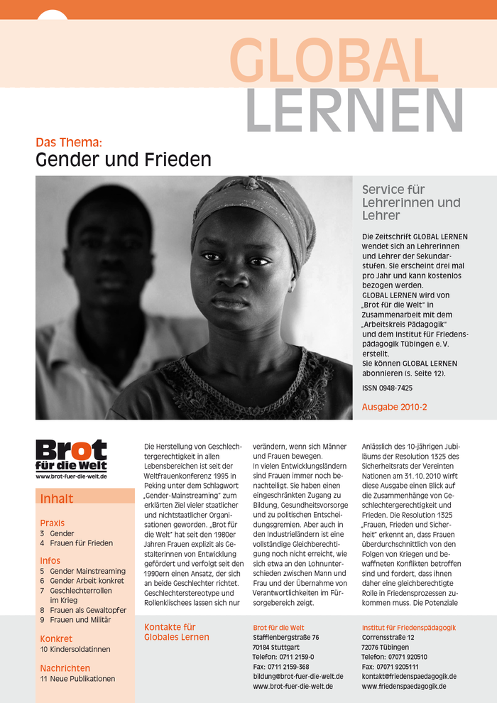 Cover of Global Lernen 2010-2, a triannual publication directed at teachers. Layout: Studio für Mediendesign Christoph Lang, Rottenburg